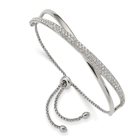 Chisel Stainless Steel High Polished with Crystal Adjustable Bangle
