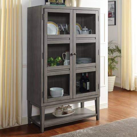 Furniture of America Marn Transitional Grey Solid Wood Curio Cabinet