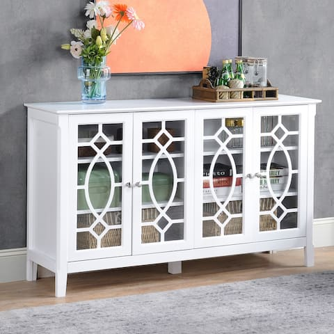 "HOMCOM Wood Accent Sideboard Buffet Serving Storage Cabinet with 4 Framed Glass Doors, Adjustable Shelves - 54""W x 15.5""D x 32""H"