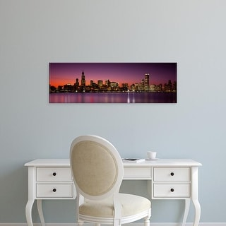 Easy Art Prints Panoramic Images's 'Dusk, Skyline, Chicago, Illinois, USA' Premium Canvas Art