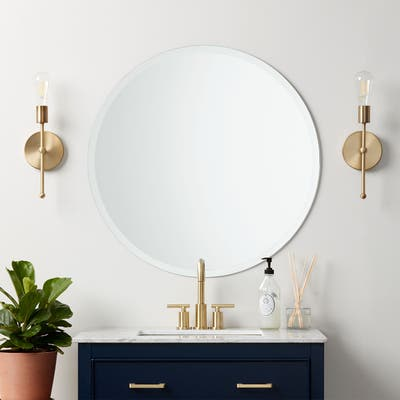 Classic Frameless Beveled Edge Round Wall Mirror - Clear