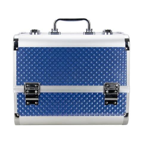 VER Blue Raindrop Holographic Makeup TrainCase with 4 Extendable Trays