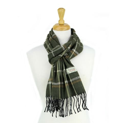 Super Soft Luxurious Classic Check Cashmere Feel Winter Scarf - green