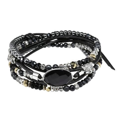 Handmade Midnight Mix Stones Leather Wrap Multi Wear Necklace or Bracelet (Thailand)