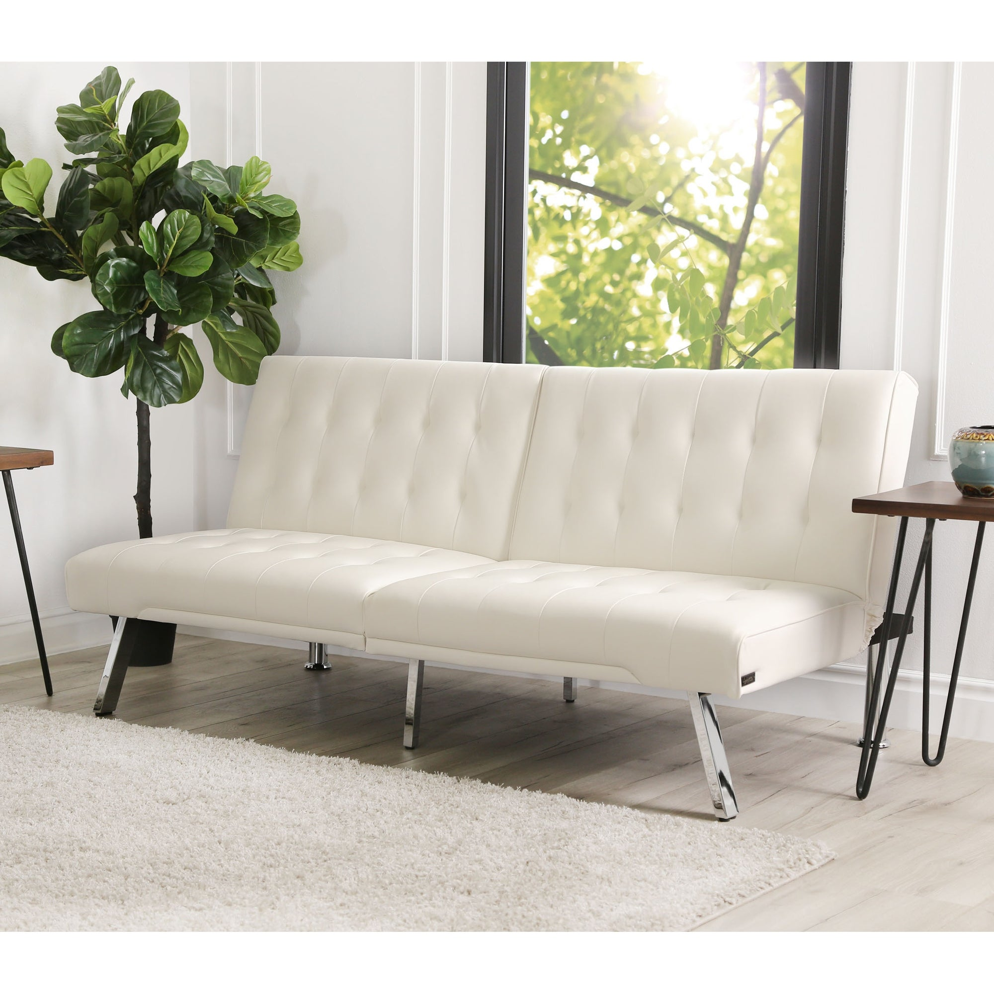 Picture of: Abbyson Jackson Ivory Faux Leather Foldable Futon Sofa Bed Overstock 9829805