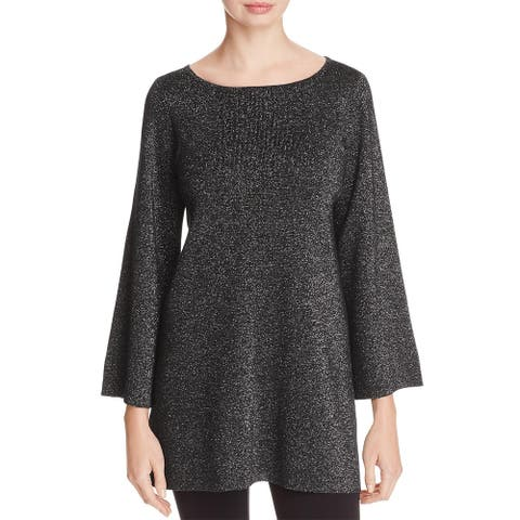 Eileen Fisher Womens Tunic Sweater Merino Wool Metallic