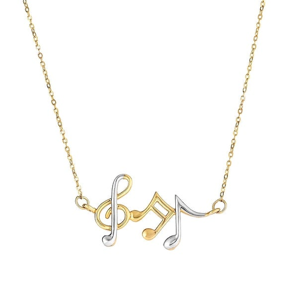 Mcs Jewelry Inc 14 KARAT TWO TONE, YELLOW GOLD AND WHITE GOLD, MUSICAL NOTES PENDANT NECKLACE (17 INCHES) - Multi