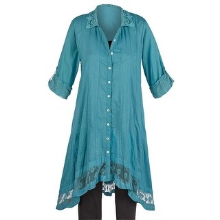 Women's Tunic Top - Dove Lace Button Down Duster - Cotton