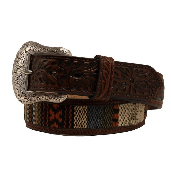 Nocona Western Belt Mens Ribbon Inlay Leather Tooled Brown