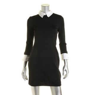 Lauren Ralph Lauren Womens Petites Collared Contrast Trim Sweaterdress - pxl
