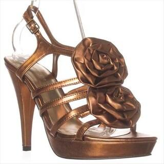 JustFab Ashton Platform Sandals - Bronze