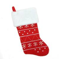 "19"" Traditional Red Embroidered Snowflake Faux Fur Cuffed Christmas Stocking"