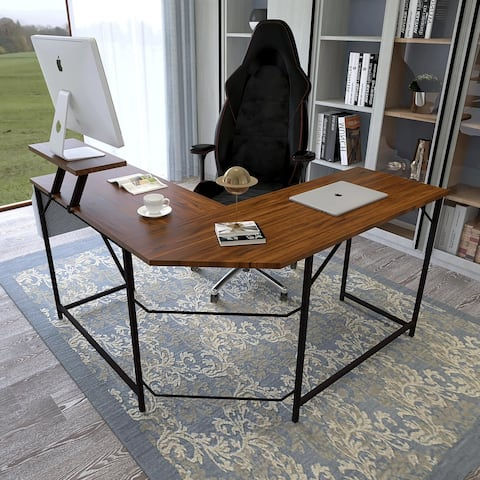 Modern L-Shaped Computer Office Desk, Corner Gaming Desk with Monitor Stand, Storage Bag & PC holder, Walnut Color