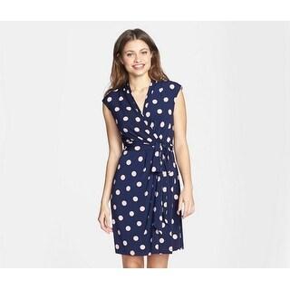 Eliza J Polka Dot Jersey Faux Wrap Dress, Navy, 16