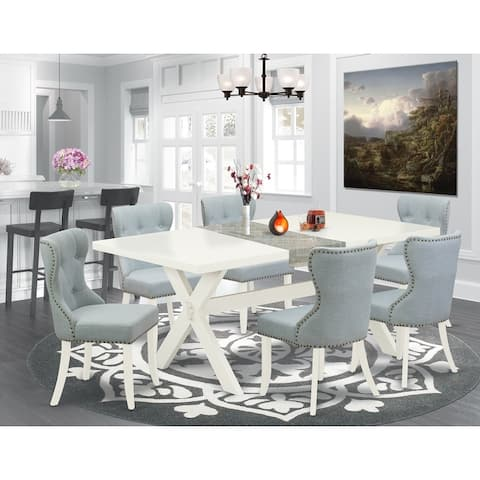 East West Furniture Dining Set - Dining Table and Baby Blue Linen Fabric Parson Chairs - Off-White Finish (Piece Option)