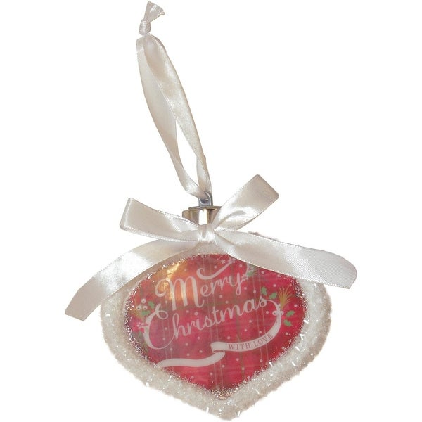 "4.5"" Led Lighted ""Merry Christmas With Love"" Christmas Onion Ornament - RED"