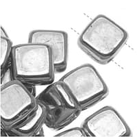 CzechMates Glass 2-Hole Square Tile Beads 6mm 'Silver' (1 Strand)