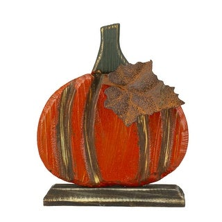 "6.5"" Orange Carved Wood Autumn Harvest Pumpkin Decoration - N/A"