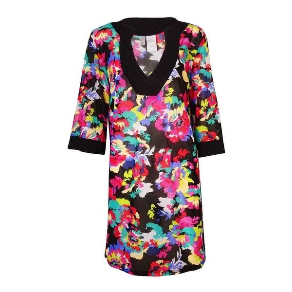 Anne Cole Women's Plus Floral Print Tunic Swim Cover - multi