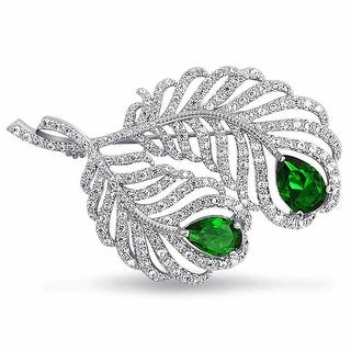 Bling Jewelry Imitation Emerald CZ Peacock Feather Brooch Rhodium Plated