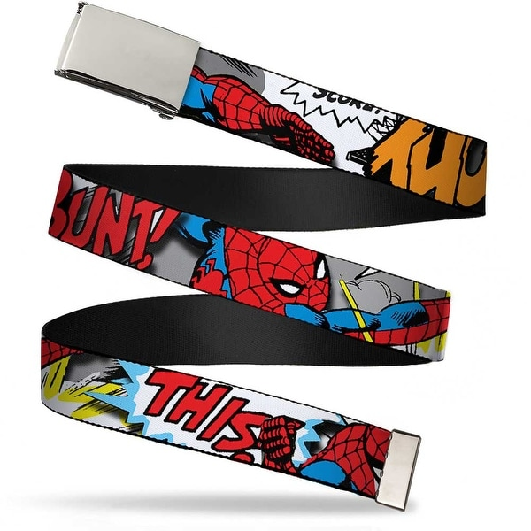 Blank Chrome Buckle Spider Man W Action Verbiage Webbing Web Belt - S