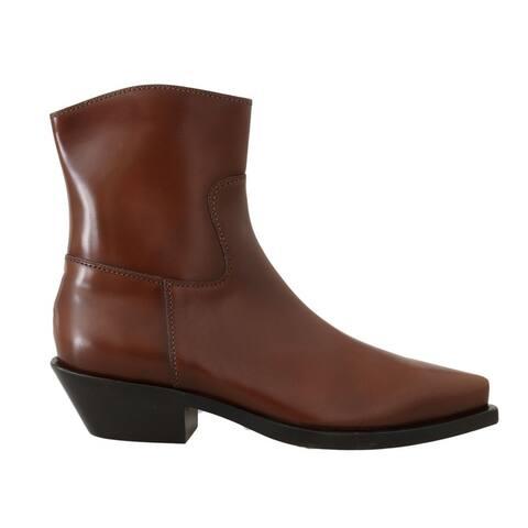 Dolce & Gabbana Brown Leather Zipper Cowboy Women's Boots
