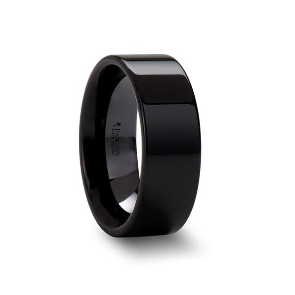 FRAENER Flat Polish Finished Black Ceramic Wedding Ring 8mm