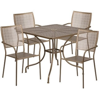 Westbury Square 35.5'' Gold Indoor-Outdoor Steel Table Set w/4 Square Back Chairs for Restaurant/Bar/Pub/Patio