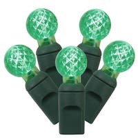 "Set of 100 Green LED G12 Berry Christmas Lights 4"" Spacing - Green Wire"