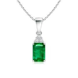 Prong Set Emerald Cut Emerald Pendant with Diamond