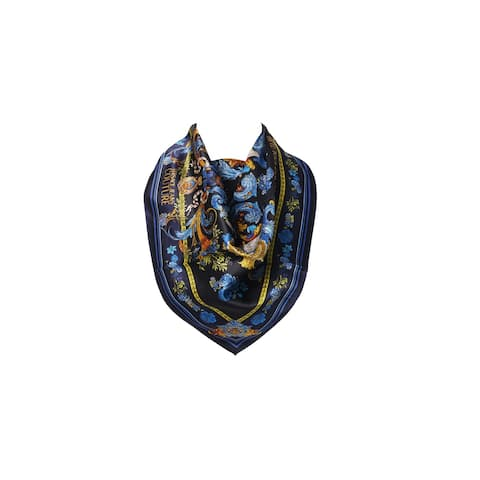 Versace Jeans Couture Blue/Gold Silk Scarf - 27X27