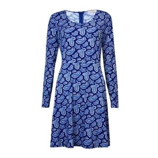 MICHEAL Michael Kors Women's Print Long Sleeve A-Line Dress (M, Sapphire) - m