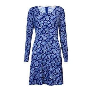 MICHEAL Michael Kors Women's Print Long Sleeve A-Line Dress (M, Sapphire) - Sapphire