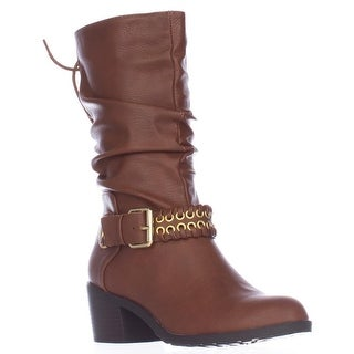 TS35 Jannice Ankle Strap Mid-Calf Slouch Boots, Cognac