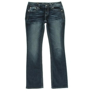 Miss Me Womens Juniors Signature Whisker Wash Embellished Bootcut Jeans - 26