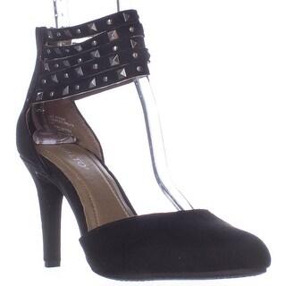 Rialto Carlita Studded Ankle Cuff D'Orsay Heels - Black