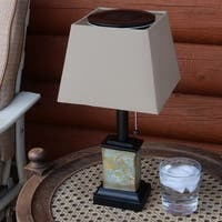 Sunnydaze Outdoor Small Square Slate Solar Table Lamp 16 Inch Tall