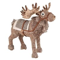 "13.25"" Brown Faux Fur Trimmed Caribou Standing Decorative Christmas Figure"