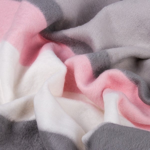 STP-Goods Gray-Pink Stripe Flannel Throw Blanket. Opens flyout.