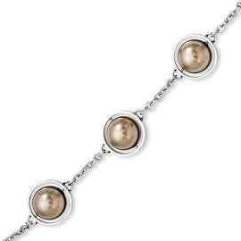 Stainless Steel Champagne Beads 7.5in with ext Bracelet