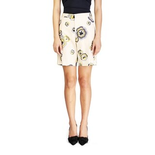 Miu Miu Women's Cotton Floral Print Shorts Tan - 6
