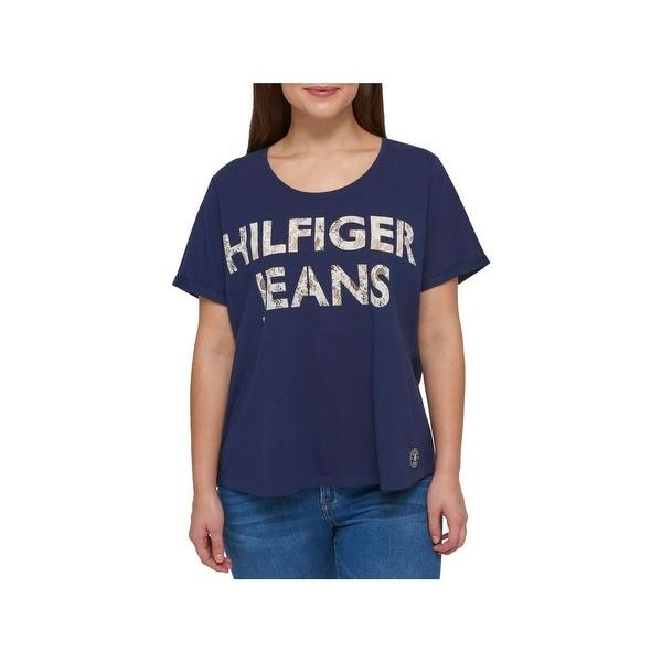 9134f9df91f Shop Tommy Hilfiger Womens Plus Logo T-Shirt Lace Inset Scoop Neck ...