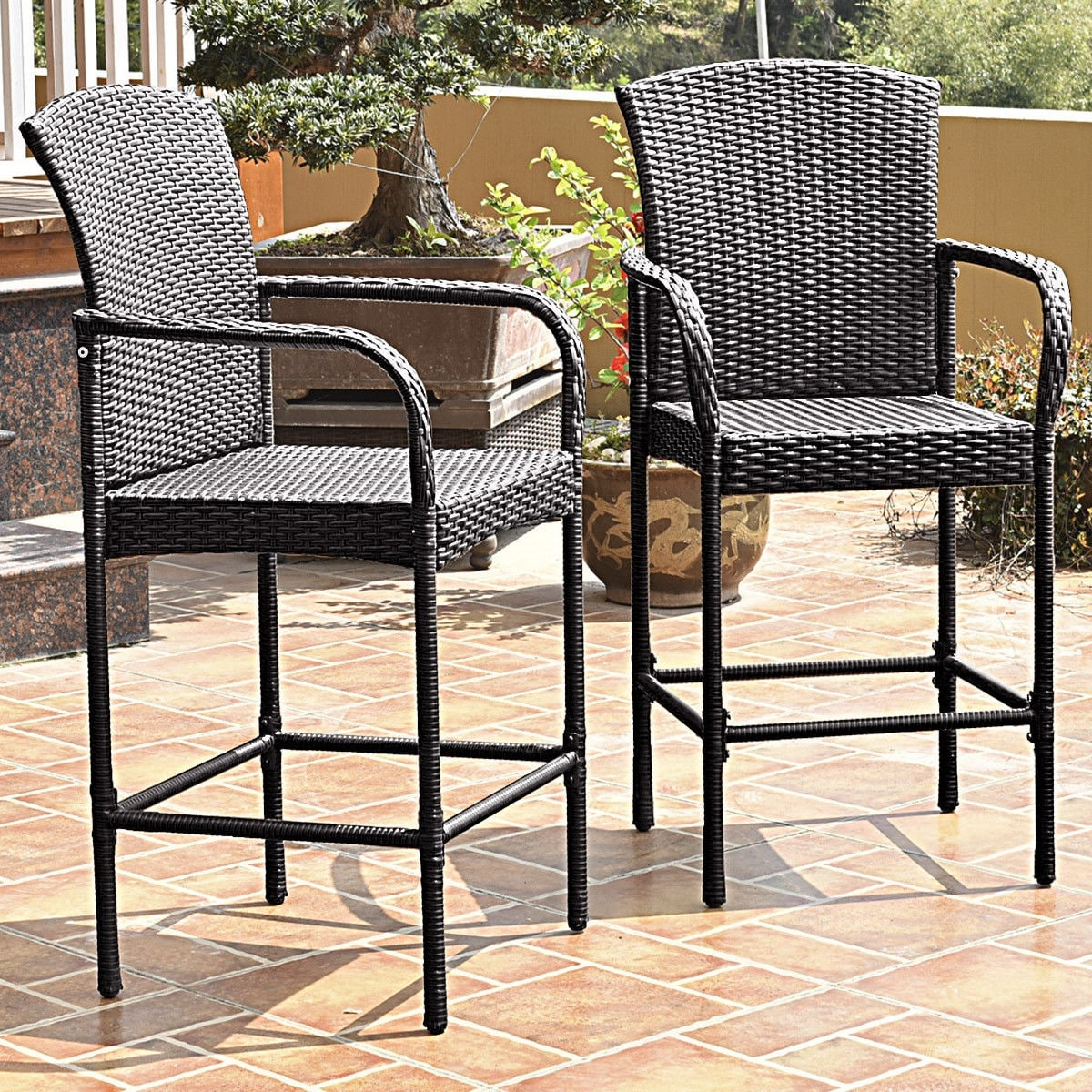 Costway 2pcs Rattan Wicker Bar Stool Dining High Counter Chair Patio Furniture Armrest