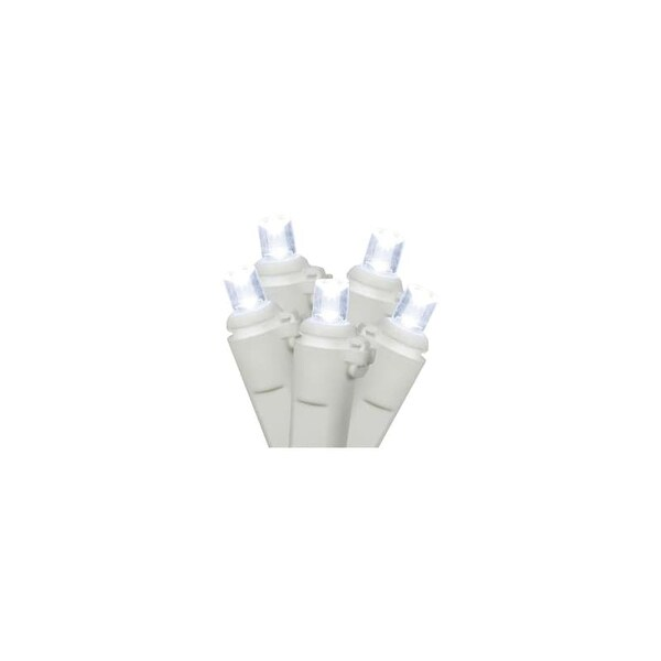 Christmas at Winterland BAT-50MMPW-4W Battery Operated Light String with 50 Conical Pure White LED Lights, 26 Gauge White Wire