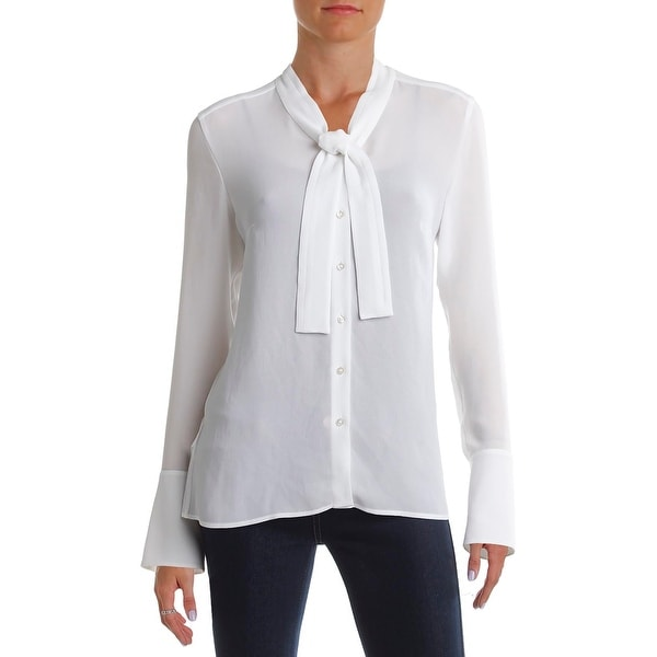 9e66783ae Shop BOSS Hugo Boss Womens Banyna1 Button-Down Top Chiffon Tie Neck ...