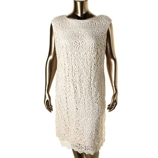 Lauren Ralph Lauren Womens Plus Crochet Knee-Length Cocktail Dress - 18W