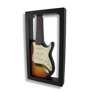 Sunset Electric Guitar Shadow Box Wall Plaque - Black