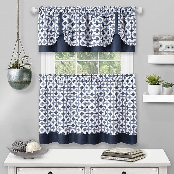 Callie Window Kitchen Curtain Tier and Valance Set, Tier 58x36 Inches, Valance 58x14 Inches. Opens flyout.