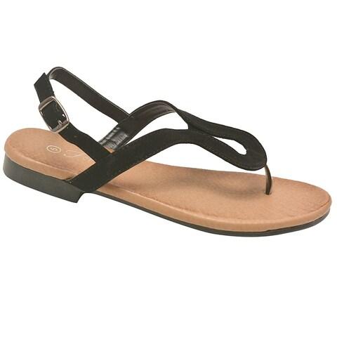 Adult Black Curved Shape Thong Strap Buckle Flip Flop Sandals