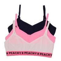 """Sweet n Sassy Girls White Pink """"Peachy"""" Print 3 Pc Cami Bra Set"""